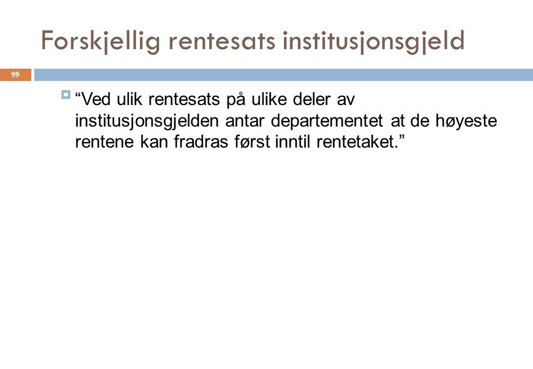 Forskjellig rentesats institusjonsgjeld