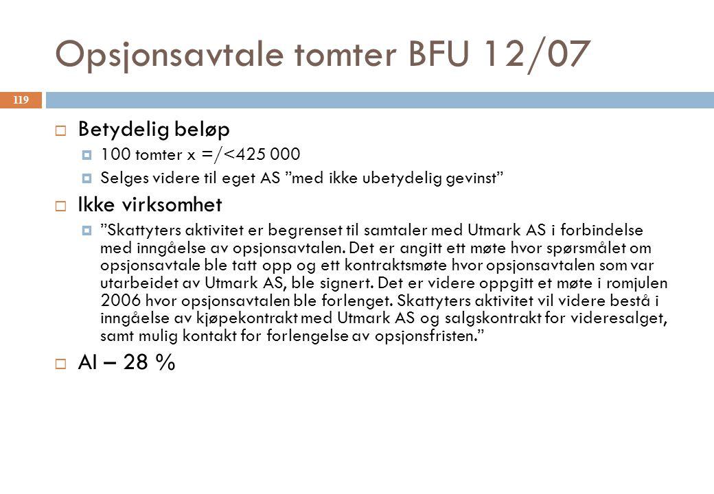 Opsjonsavtale tomter BFU 12/07