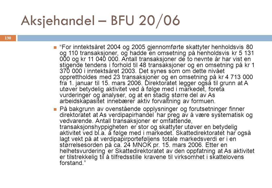 Aksjehandel – BFU 20/06