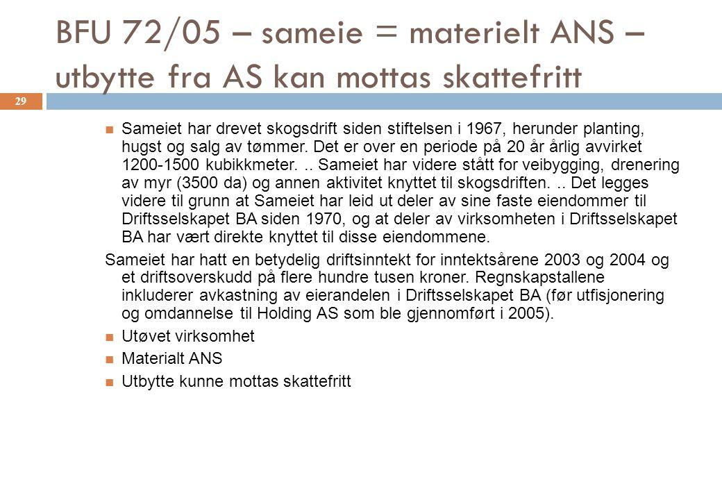 BFU 72/05 – sameie = materielt ANS – utbytte fra AS kan mottas skattefritt