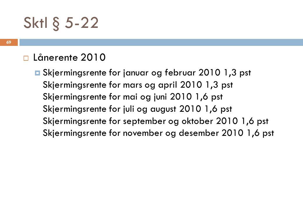Sktl § 5-22 Lånerente 2010.