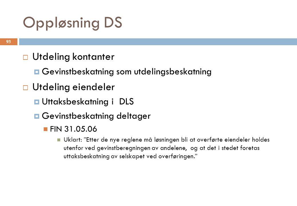 Oppløsning DS Utdeling kontanter Utdeling eiendeler