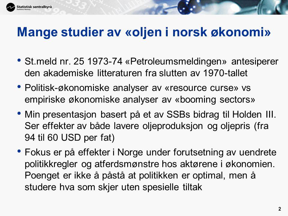 Mange studier av «oljen i norsk økonomi»