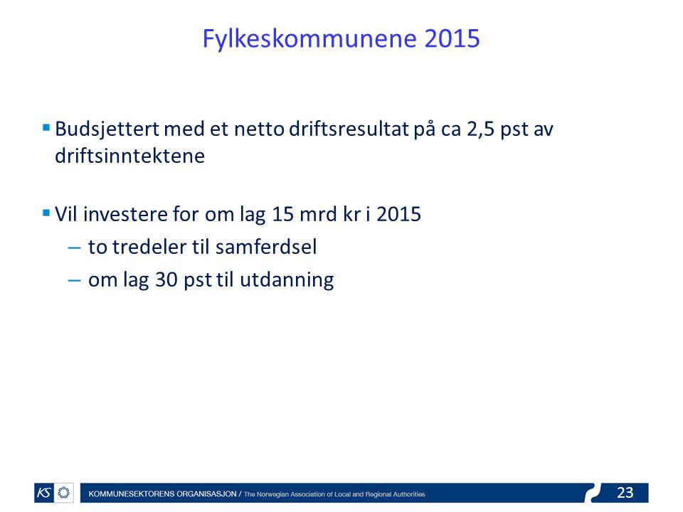 Fylkeskommunene 2015 Budsjettert med et netto driftsresultat på ca 2,5 pst av driftsinntektene. Vil investere for om lag 15 mrd kr i 2015.