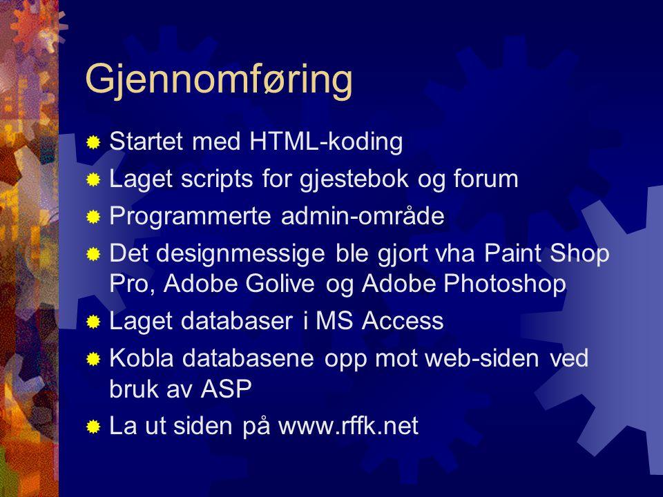 Gjennomføring Startet med HTML-koding