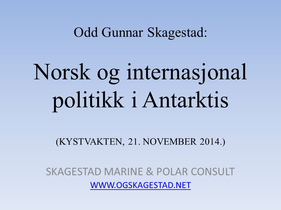 SKAGESTAD MARINE & POLAR CONSULT WWW.OGSKAGESTAD.NET