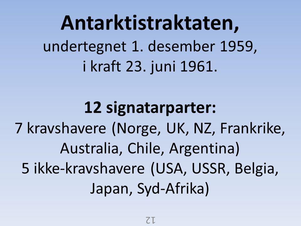 Antarktistraktaten, undertegnet 1. desember 1959, i kraft 23. juni 1961. 12 signatarparter: 7 kravshavere (Norge, UK, NZ, Frankrike, Australia, Chile, Argentina) 5 ikke-kravshavere (USA, USSR, Belgia, Japan, Syd-Afrika)