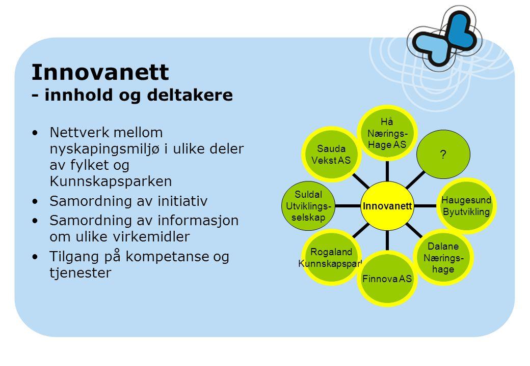 Innovanett - innhold og deltakere