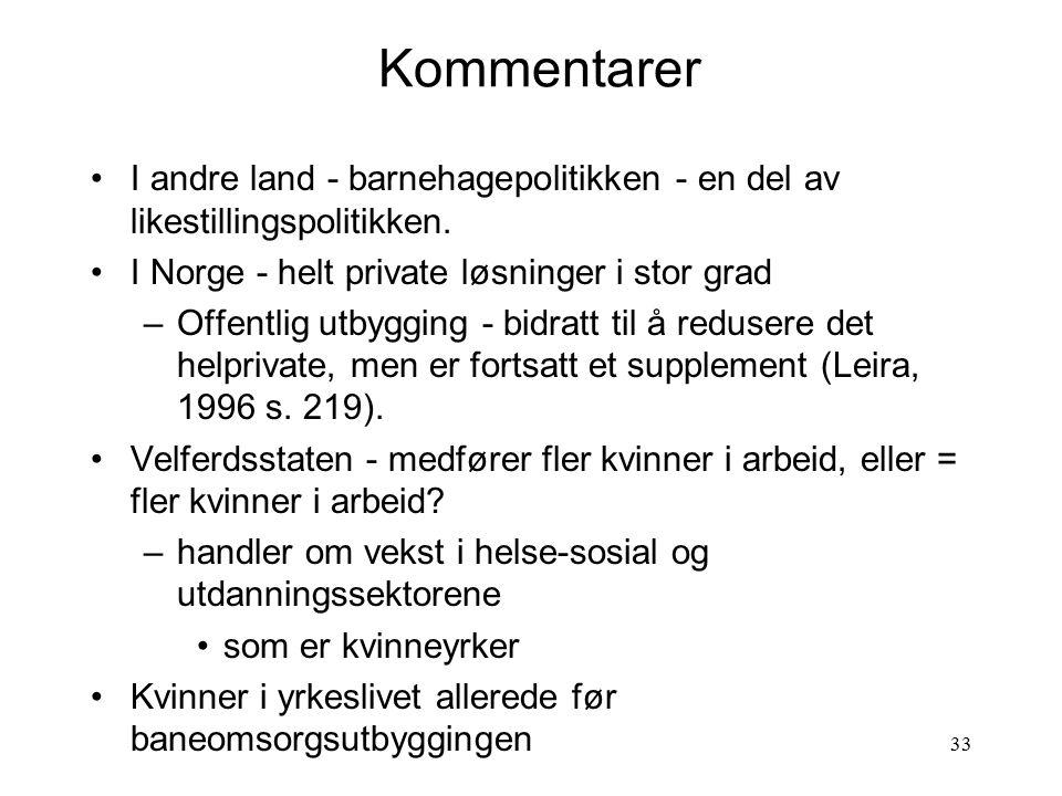 Kommentarer I andre land - barnehagepolitikken - en del av likestillingspolitikken. I Norge - helt private løsninger i stor grad.