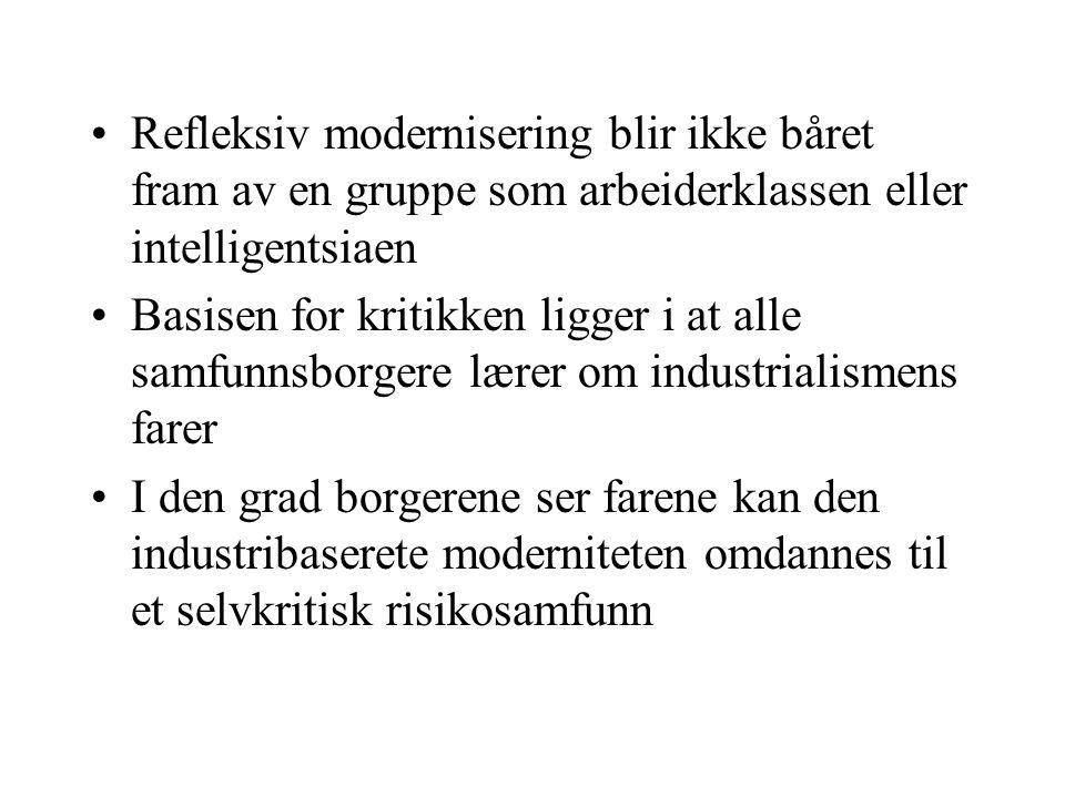 Refleksiv modernisering blir ikke båret fram av en gruppe som arbeiderklassen eller intelligentsiaen