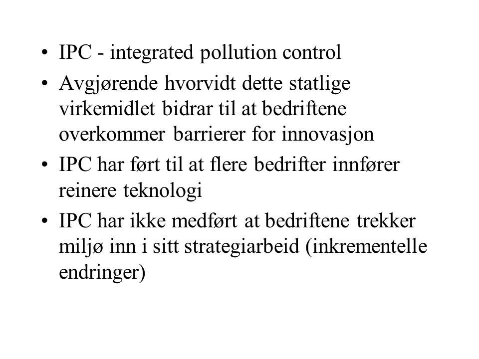 IPC - integrated pollution control