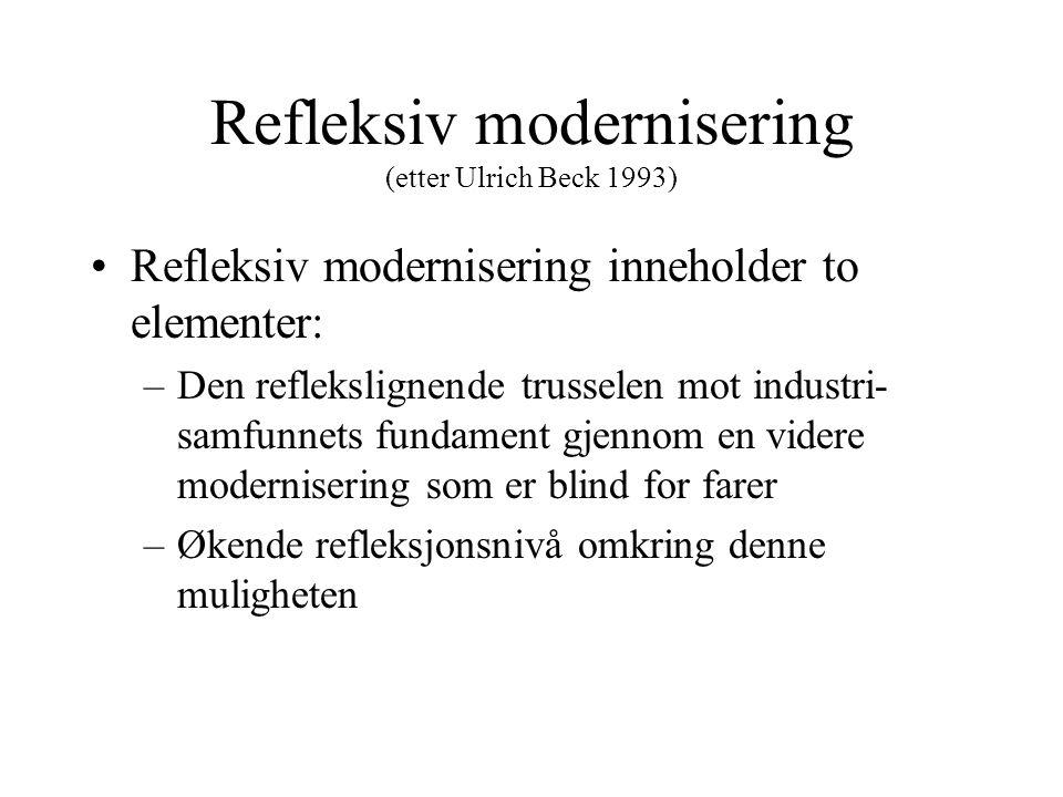 Refleksiv modernisering (etter Ulrich Beck 1993)