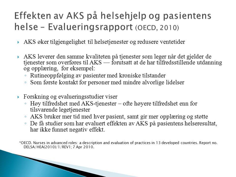 Effekten av AKS på helsehjelp og pasientens helse – Evalueringsrapport (OECD, 2010)