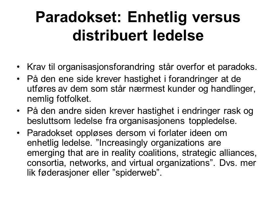 Paradokset: Enhetlig versus distribuert ledelse