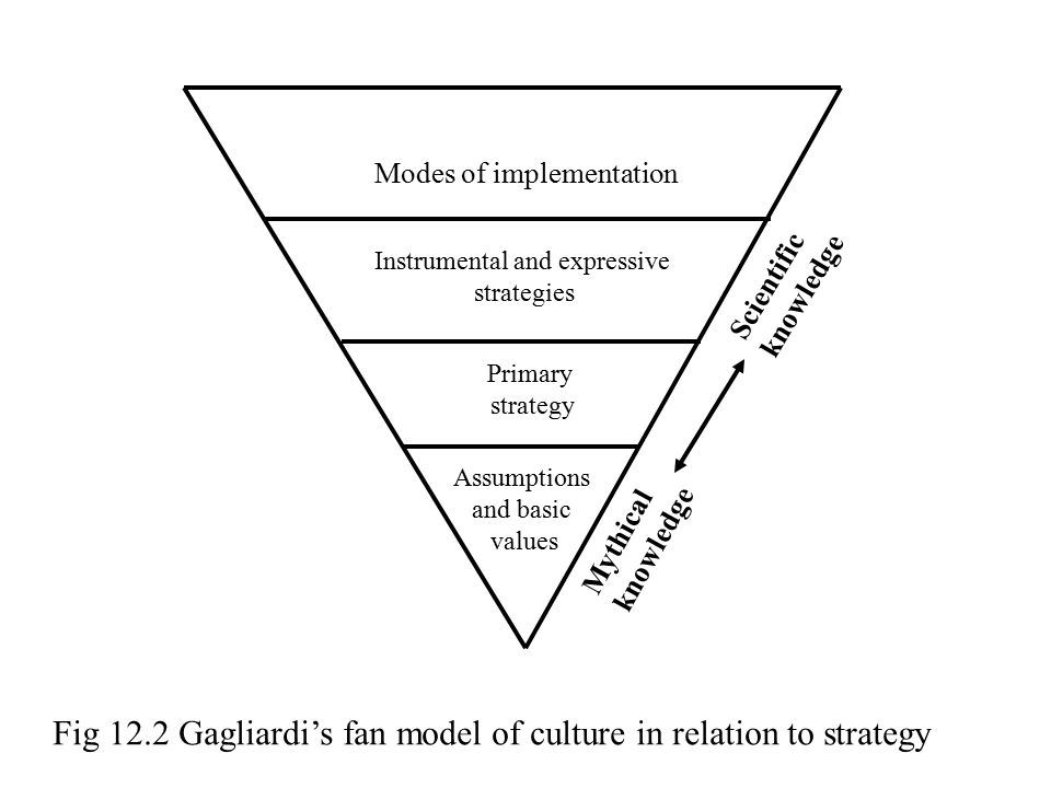Fig 12.2 Gagliardi's fan model of culture in relation to strategy