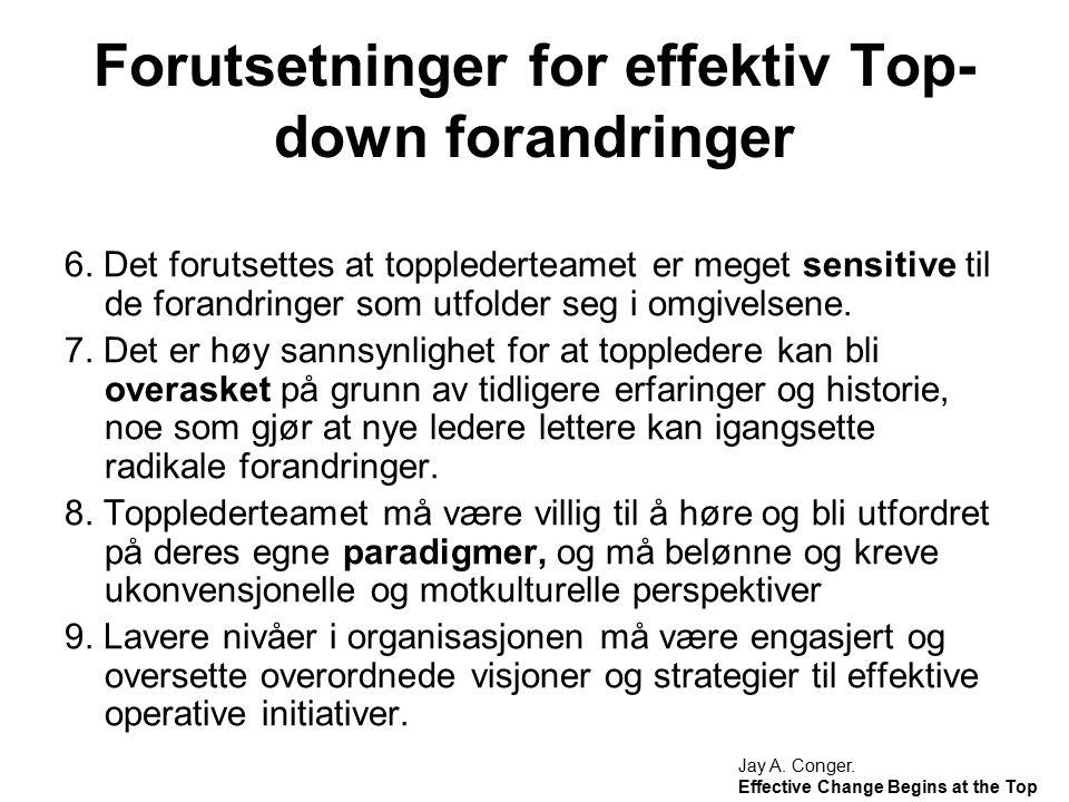 Forutsetninger for effektiv Top-down forandringer