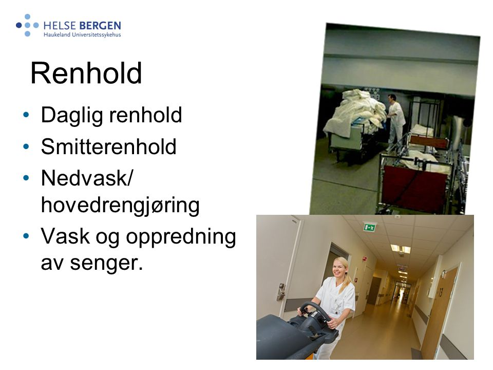 Renhold Daglig renhold Smitterenhold Nedvask/ hovedrengjøring