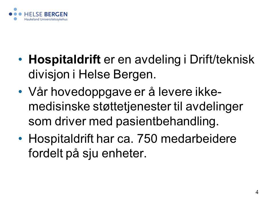 Hospitaldrift er en avdeling i Drift/teknisk divisjon i Helse Bergen.