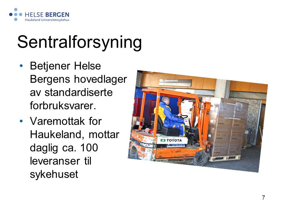 Sentralforsyning Betjener Helse Bergens hovedlager av standardiserte forbruksvarer.