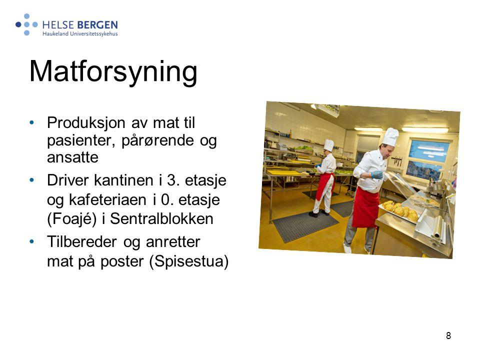 Matforsyning Produksjon av mat til pasienter, pårørende og ansatte