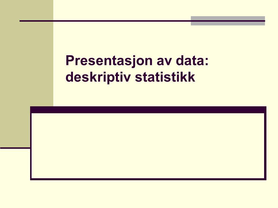 Presentasjon av data: deskriptiv statistikk