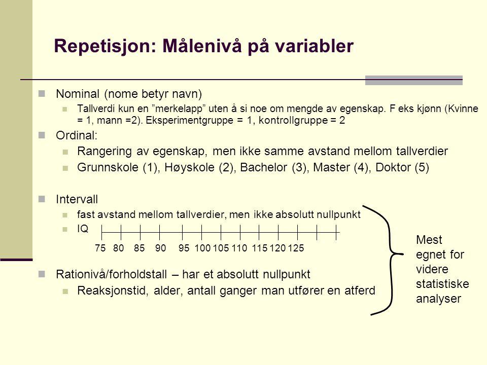 Repetisjon: Målenivå på variabler