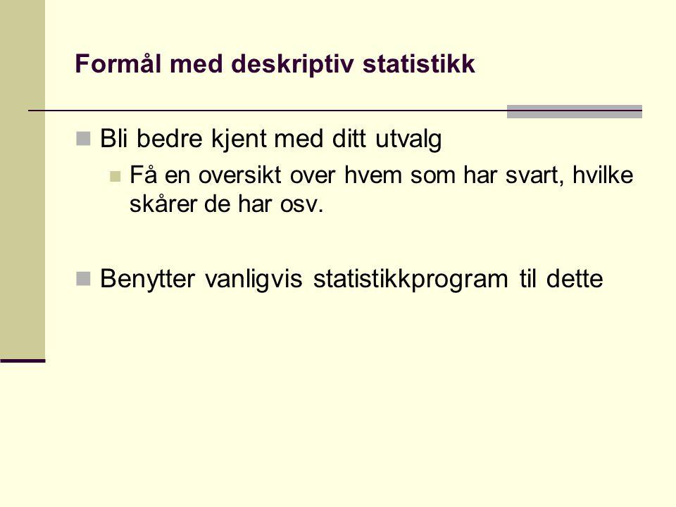 Formål med deskriptiv statistikk