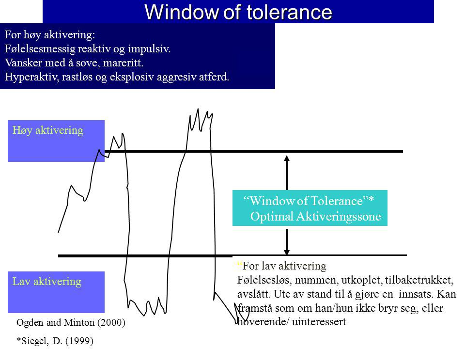 Window of tolerance Window of Tolerance * Optimal Aktiveringssone