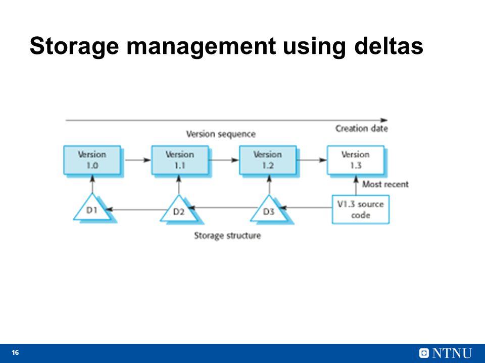 Storage management using deltas
