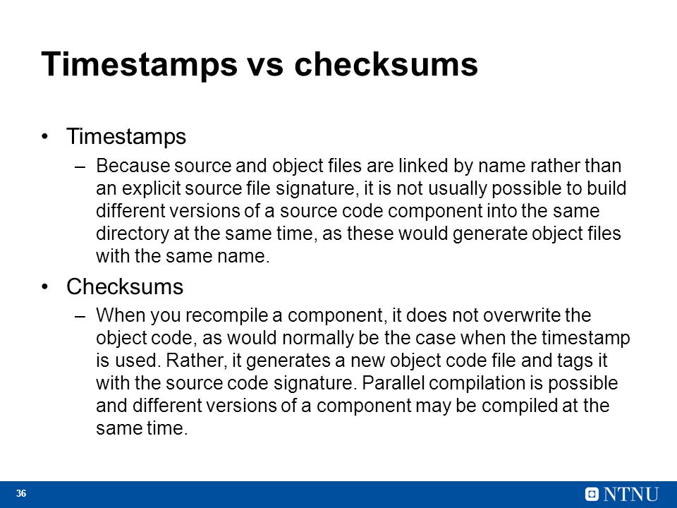 Timestamps vs checksums