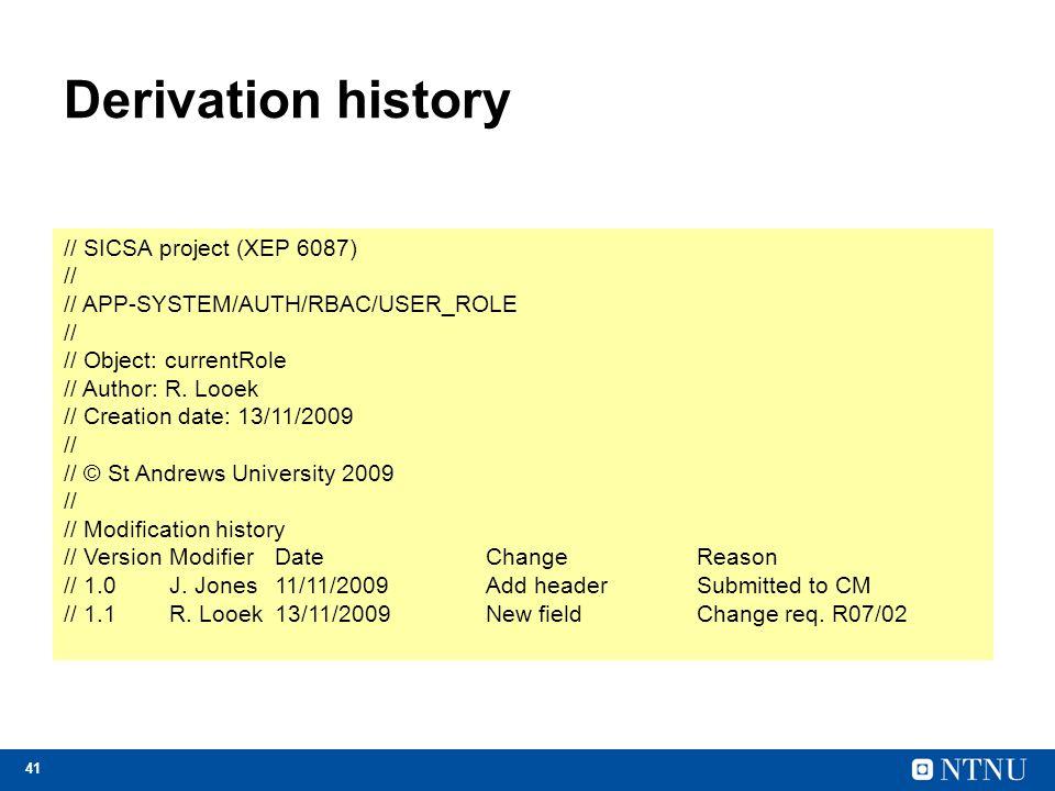 Derivation history // SICSA project (XEP 6087) //