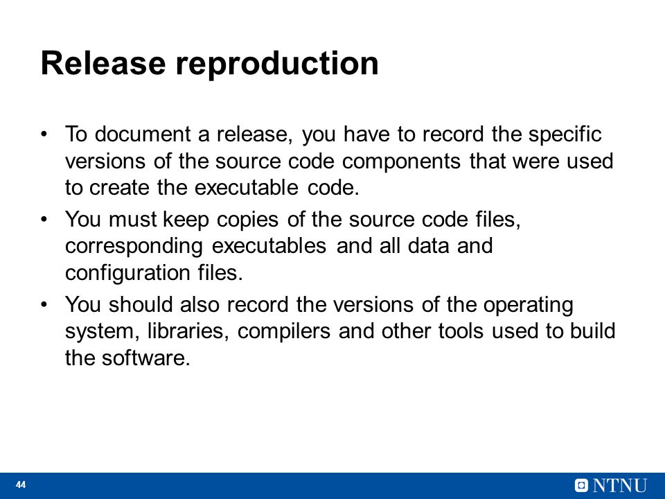 Release reproduction