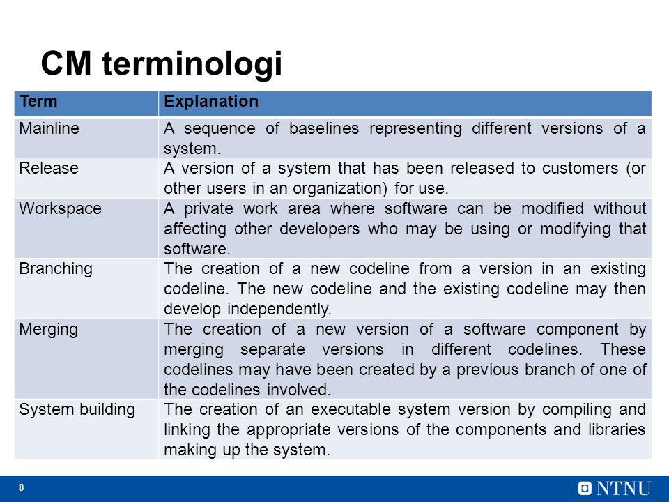 CM terminologi Term Explanation Mainline