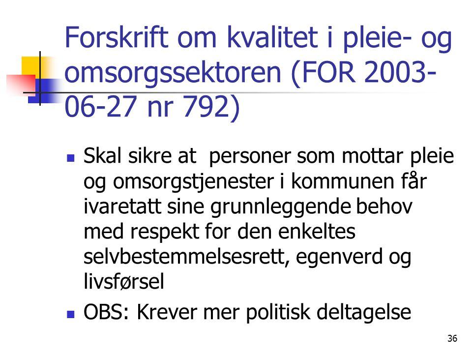Forskrift om kvalitet i pleie- og omsorgssektoren (FOR 2003-06-27 nr 792)