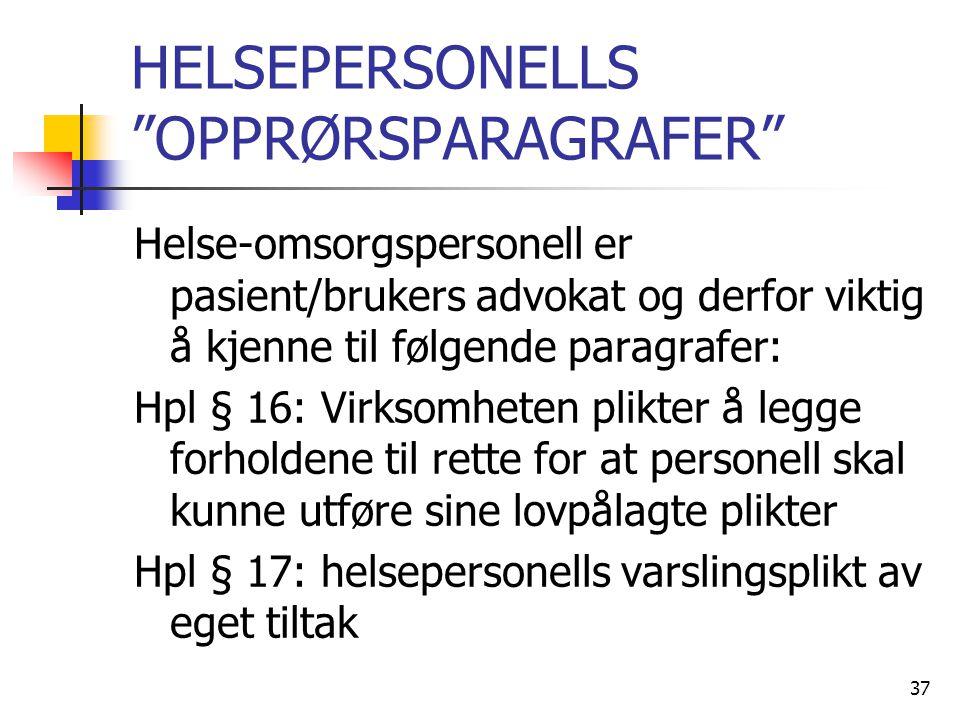 HELSEPERSONELLS OPPRØRSPARAGRAFER