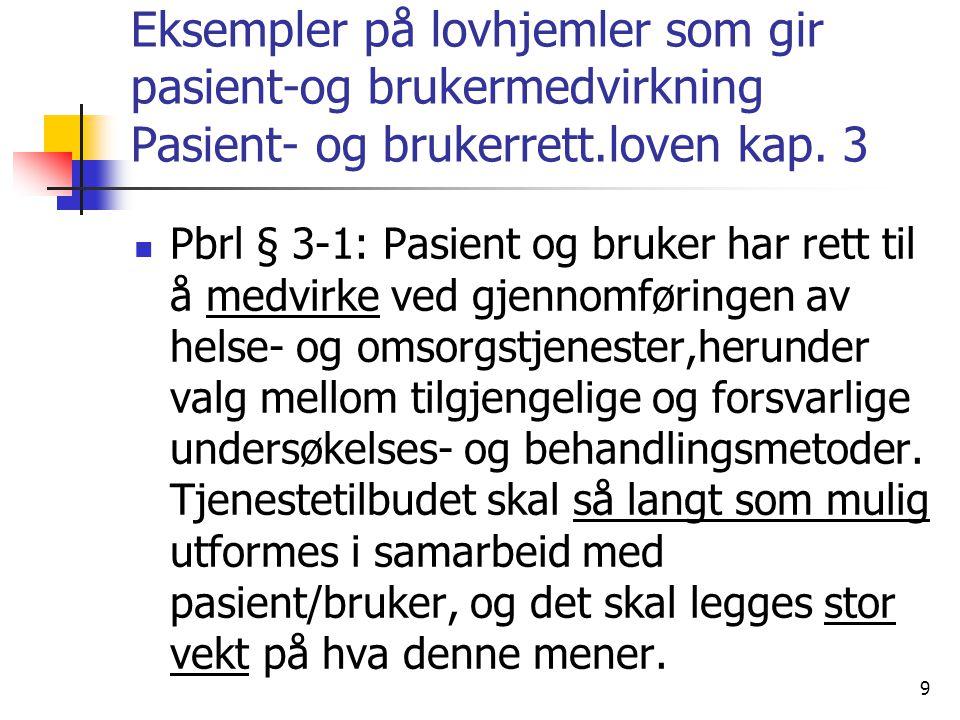 Eksempler på lovhjemler som gir pasient-og brukermedvirkning Pasient- og brukerrett.loven kap. 3