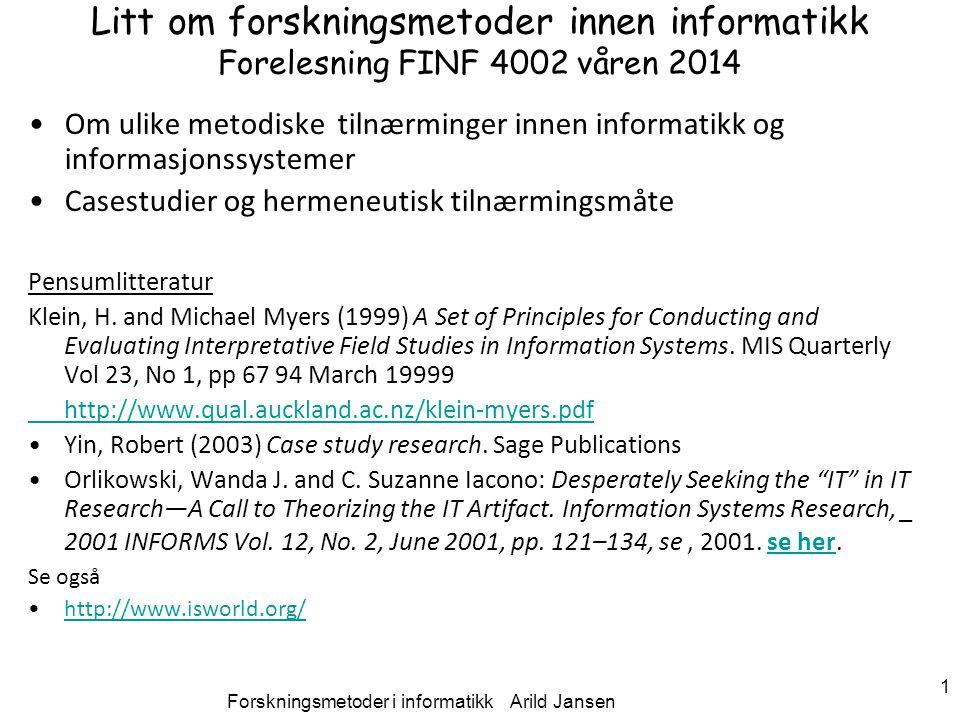 Forskningsmetoder i informatikk Arild Jansen