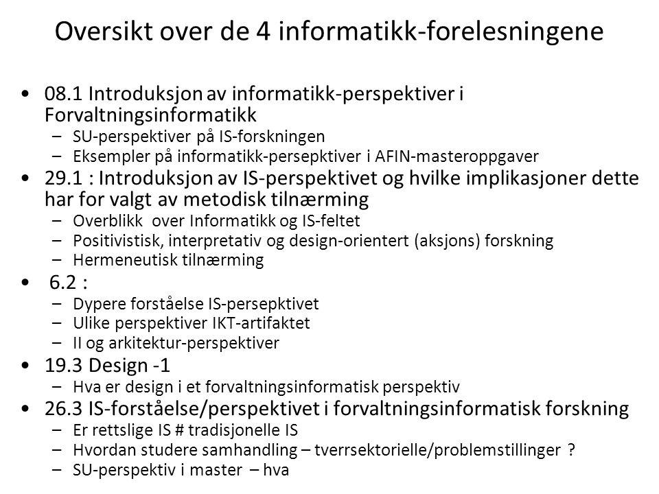 Oversikt over de 4 informatikk-forelesningene