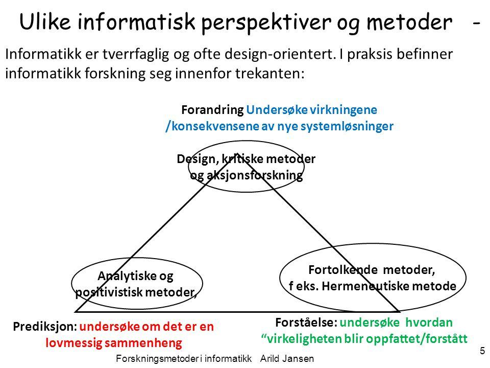 Ulike informatisk perspektiver og metoder -