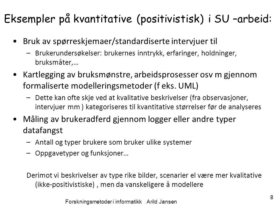 Eksempler på kvantitative (positivistisk) i SU –arbeid: