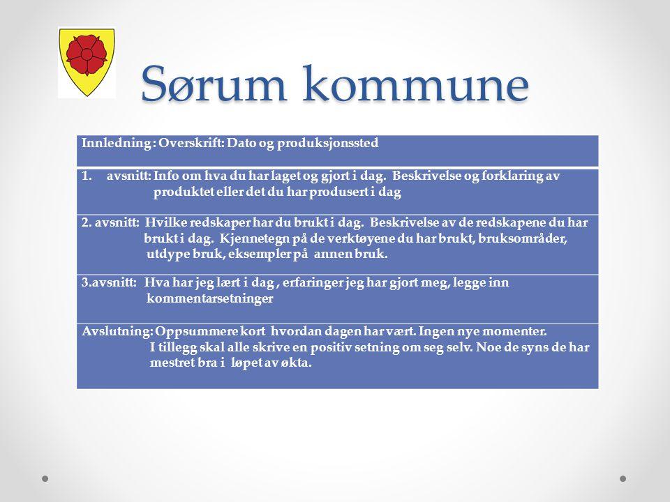 Sørum kommune Innledning : Overskrift: Dato og produksjonssted