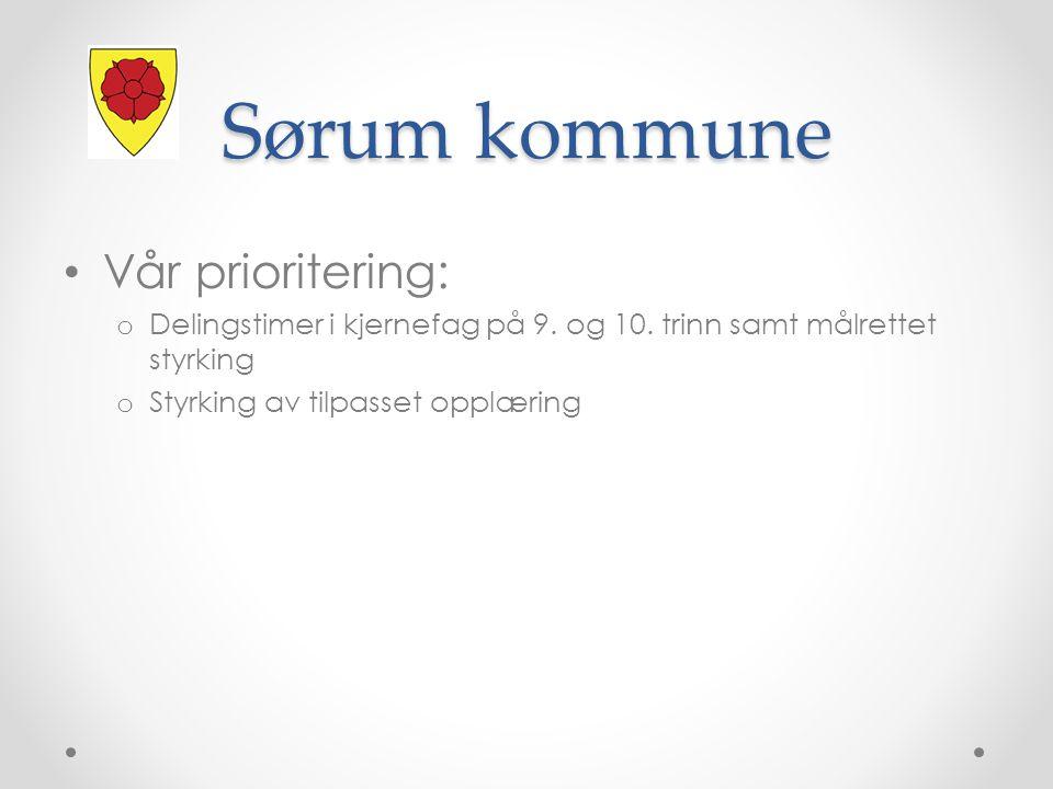 Sørum kommune Vår prioritering: