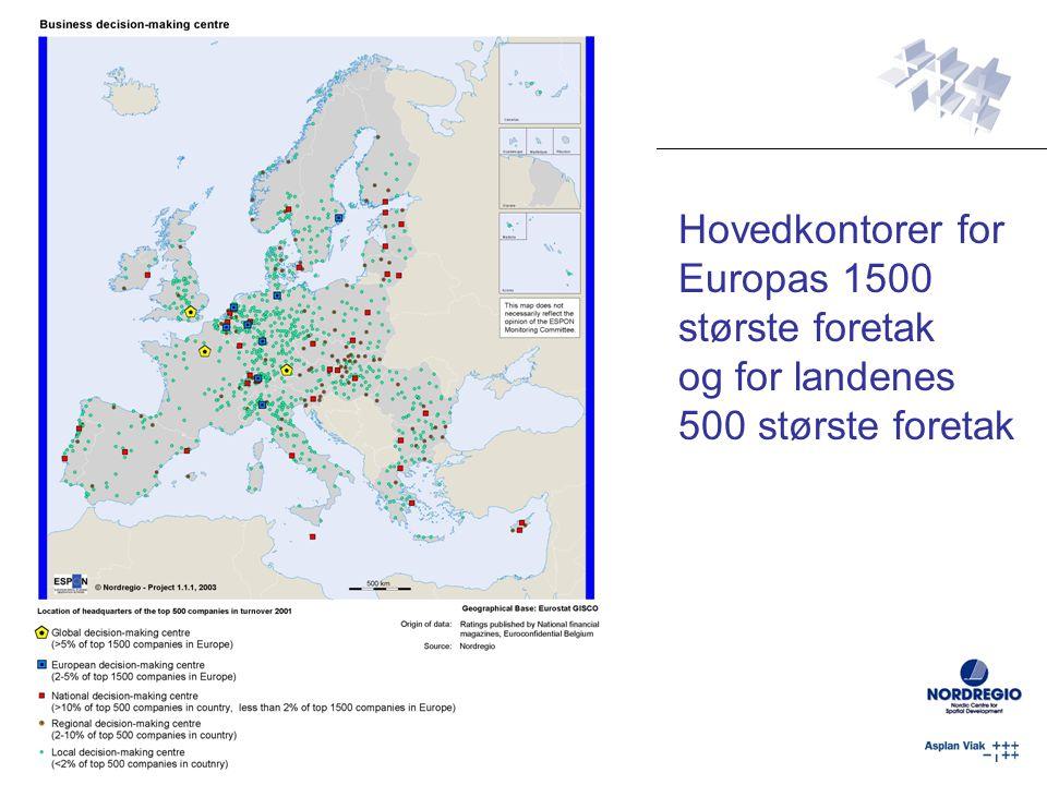 Hovedkontorer for Europas 1500 største foretak og for landenes 500 største foretak