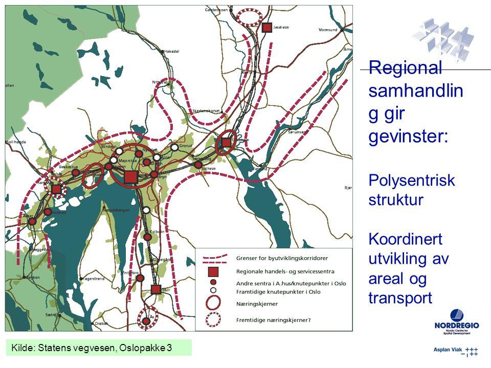 Regional samhandling gir gevinster: Polysentrisk struktur Koordinert utvikling av areal og transport