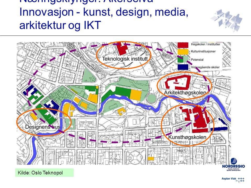 Næringsklynger: Akerselva Innovasjon - kunst, design, media, arkitektur og IKT