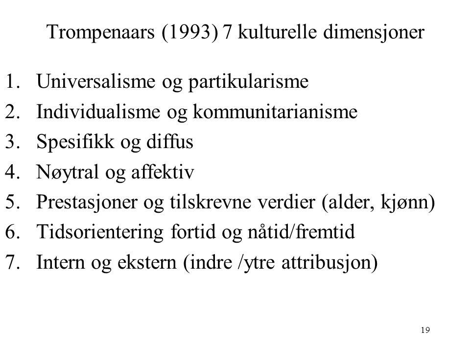Trompenaars (1993) 7 kulturelle dimensjoner