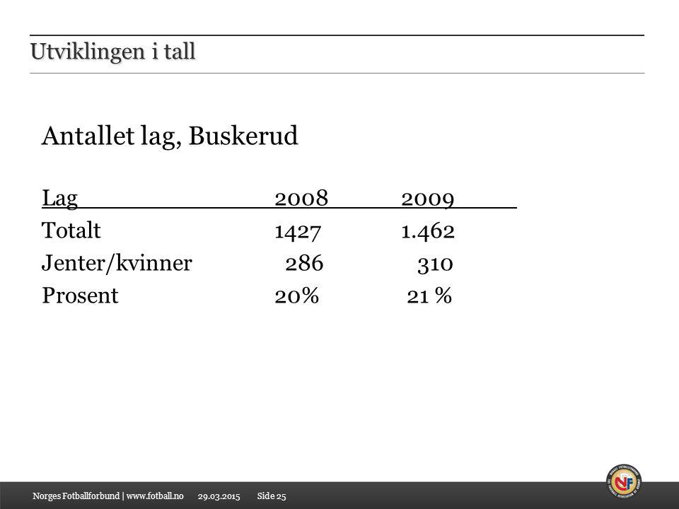 Antallet lag, Buskerud Utviklingen i tall Lag 2008 2009