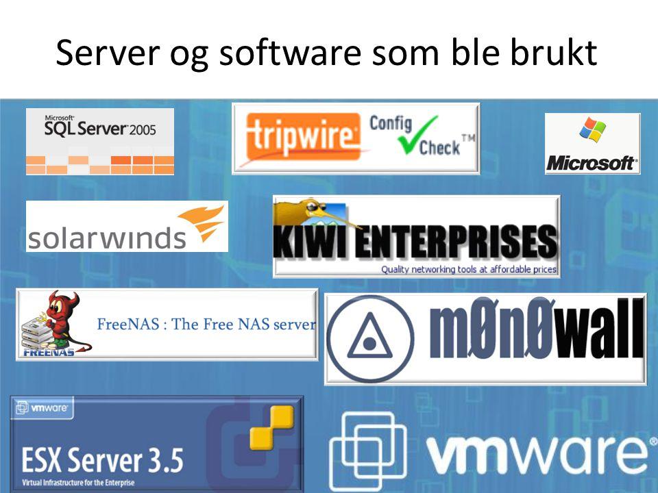 Server og software som ble brukt