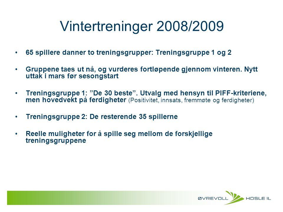 Vintertreninger 2008/2009 65 spillere danner to treningsgrupper: Treningsgruppe 1 og 2.