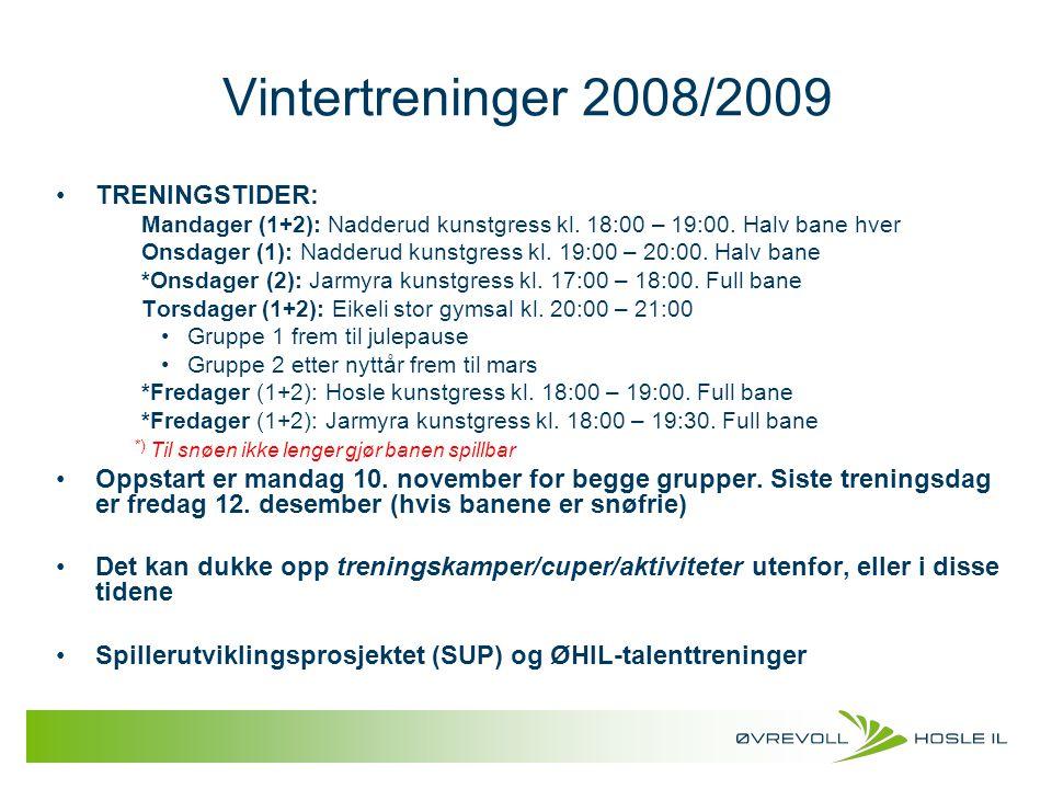 Vintertreninger 2008/2009 TRENINGSTIDER: